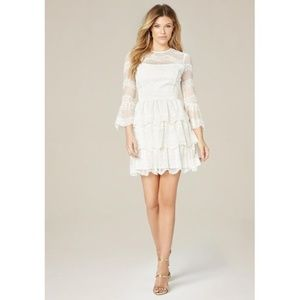 NWT BEBE White Olivia Lace Tiered Dress